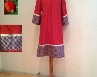 Red tunic dress sale, black red dress, long sleeves, 70s 60s retro style, womens tunics, womans jersey dress, womens dresses, red dresses