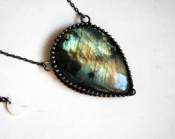 Blue and Gold Labradorite Teardrop Necklace