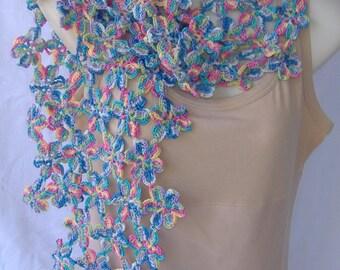 crochet flower scarf, flower motif scarf, crochet scarf, flower scarf, crochet summer wrap, spring wrap, spring scarf, crochet flower stole