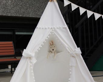 Pom Pom Teepee With Poles,Floor,Pocket,Handbag,LED Light, Kids