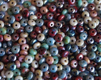 200 4mm Picasso Rondelle Mix - Small Rondelle - Donut Mix - Czech Glass Beads - Picasso Donut - Bead Soup Beads