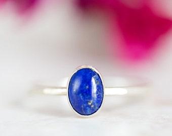 Lapis Ring, Blue Lapis Silver Stacking Ring, Blue Gemstone Ring