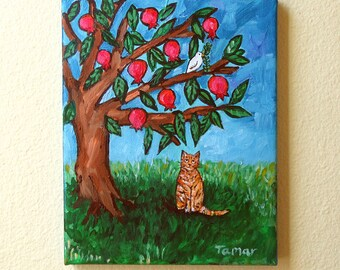 Pomegranate Tree, Judaica Wall Art, Shalom Artwork, Jewish Art, Original Cat Painting, Painting on Canvas, Peace Dove with Olive Branch Gift
