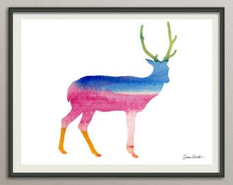 deer wall art print wall decor poster watercolor painting drawing, animals wall art print poster, nursery wall art art print poster