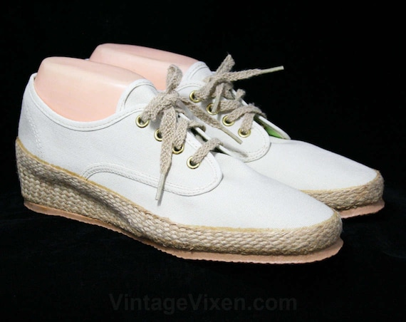 80s Canvas Woven Shoe Beige Casual Jute Cream Size Large Sneakers Shoes Ecru Vintage Size Deadstock 2 10 44178 10N Classic FPO8w