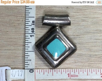 10%OFF3DAYSALE Vintage 925 Sterling Silver 16.7g Turquoise Slide Pendant Needs Cleaned Used