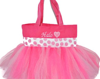 Pink Polka Dot Tutu Bag, Dance Bag, Polka Dot Ribbon, Name Embroidered on the Bag. Personalized Girl, Ballet Bag, Dance Class Bag