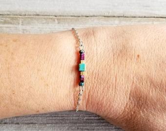 Beaded Bracelet, Minimalist Bracelet, Boho Bracelet, Brass Chain Bracelet, Dainty Bracelet, Small Bead Bracelet, Lightweight Bracelet