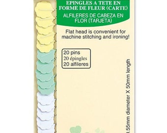 Clover Flower Head Pins Card 0.55mm Size Medium Weight Fabric Quilting and Sewing Notions