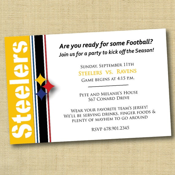 Items similar to pittsburgh steelers football party invitation diy items similar to pittsburgh steelers football party invitation diy ready to print more colors and teams available on etsy filmwisefo