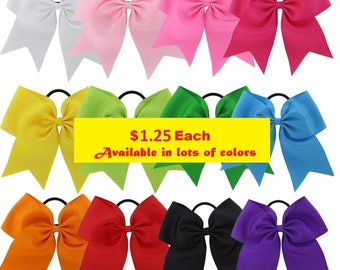 "Big Cheer Hair Bows 7"" Ribbon w Ponytail 1 Dollar Each Girls Cheerleading Bow Blanks Design Your Own Custom Personalized Screen Printing"