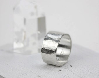 Hammered Silver Wide Band Ring, Statement Ring, Minimalist Jewelry, Simple Ring, Gift for Her, Gift for Him