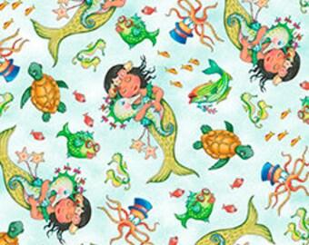 Quilting Treasures - Mermaid Merriment - Tossed Mermaids & Sea Creatures - 26521-BZ - Mary Engelbreit - Mermaids - Sea - Fish - Turtles