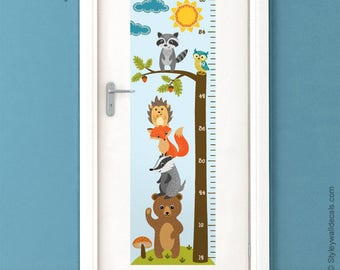 Forest Animals Growth Chart Wall Decal, Kids Room Growth Chart Wall Sticker, Height Chart Wall Decal, Bear Fox Owl Nursery Kids Wall Decor