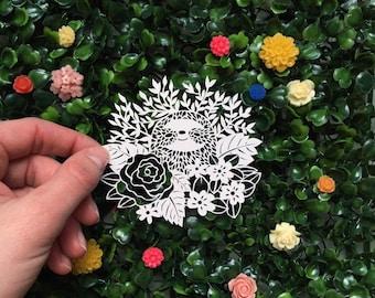 Handcut Sloth Papercut Artwork - Original Sloth Kirigami - Bespoke Sloth Scherenschnitte