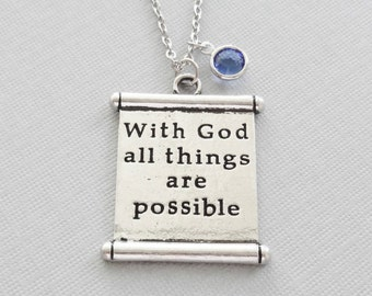 With God All Things Are Possible Necklace, Bible Verse, Matthew 19, Christian Gift, Silver Jewelry, Swarovski Channel Crystal Birthstone