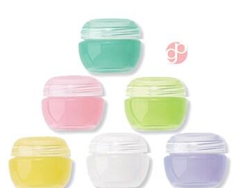 6 2 ml Lip Balm bocaux, cosmétiques, parfum solide, Salve, Glitter, brillant à lèvres, en fruits fruité assortis couleurs minuscules contenants cosmétiques vides