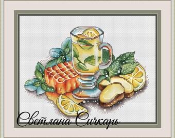 Tea Cross Stitch Pattern PDF Instant Download Ginger Cross Stitch Kitchen Cross Stitch Cozy Cross Stitch Drink Cross Stitch Lemon Cross Stit