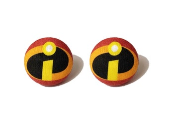 """Pixar Pals Collection """"The Incredibles"""" Incredibles Inspired Fabric Button Earrings"""