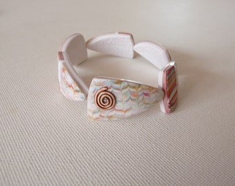 Order * reserved * Bracelet polymer clay triangles white graphic pattern multicolor spiral hammered copper