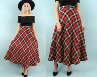 70s High Waisted Plaid Skirt, Vintage Maxi Skirt, Red White and Blue, 60s, Wool Skirt, Tartan Plaid, Size Small, 27 Waist, School Uniform