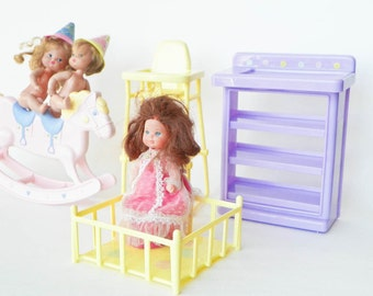 Heart Family Dolls Furniture - Rosebud Doll - Birthday Party Twins - Rocking Horse - Crib Playpen - Highchair - Dresser Changing Table
