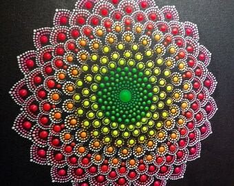 Original handpainting dotmandala on canvas 25x20 cm