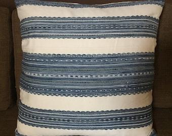 """Marvic Textiles Embroidered Pillowcase, Indigo, 20"""" x 20"""""""