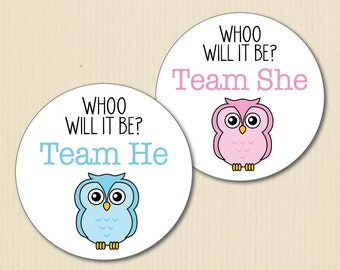 OWL Gender Reveal Party Stickers, Whoo will it Be, Team He, Team She, Baby Shower Label, Team Pink, Team Blue, Team Boy, Team Girl, Woodland