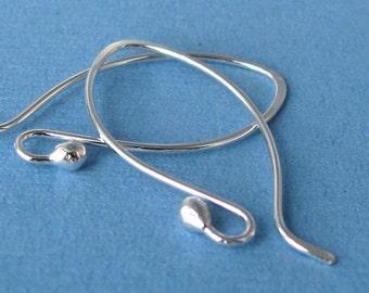 Sterling Silver Earrings, Ball Hoop Hammered Elfaerie Earwires, 2 pairs