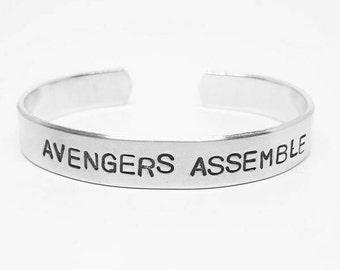 Custom Hand Stamped Avengers Aluminum Cuff:  AVENGERS ASSEMBLE