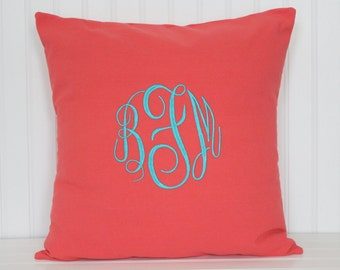 Pillow cover with Embroidered Monogram - Decorative Pillow - Personalized Throw Pillow - Nursery Decor - Dorm Decor - Baby Gift - Wedding