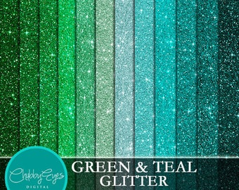 Green and Teal Glitter Digital Papers, Scrapbook Papers Green Sparkles Clipart , digital background - Instant Download