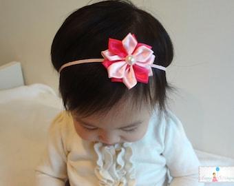 Pretty in Pink Satin Flowers headbands, Baby girls headbands, newborn headband, Birthday headbands, Toddler headband, Baby girls,Photo Props