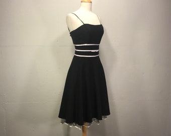 tea length black and crinoline full skirt  cocktail dress satin waist spaghetti strap dress by Be Smart USA