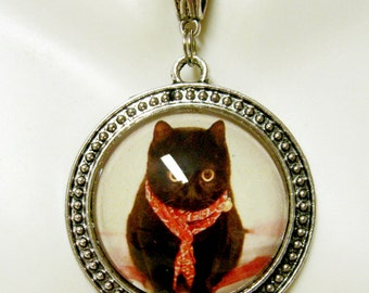 Red scarf black kitty pendant with chain - CAP26-007
