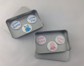 Easter, Valentines, Love, Birthday Gift, Some Bunny Loves You Magnet Set. 3 x 25mm magnets complete with gift tin. Perfect Gift, Handmade