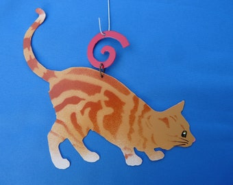 Metal Orange Tiger Cat Ornament