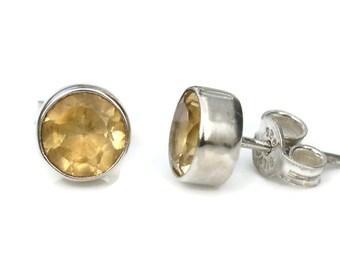 8mm Citrine Sterling Silver Stud Earrings in Bezel Setting - Bezel Citrine Silver Studs- Gemstone Citrine Post Earrings