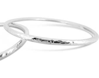 Sterling Silver Bangle, Solid Sterling Silver Bangle, Sterling Silver Textured Bangle, Handmade In Scotland, Gift for Her