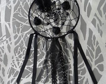 Black nightmare catcher with satin roses, ribbons and feather dream catcher Gothic