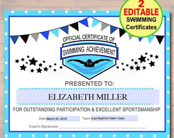 Award certificate etsy editable swim team award certificates instant download swimming awards swimmer party printable yelopaper Gallery