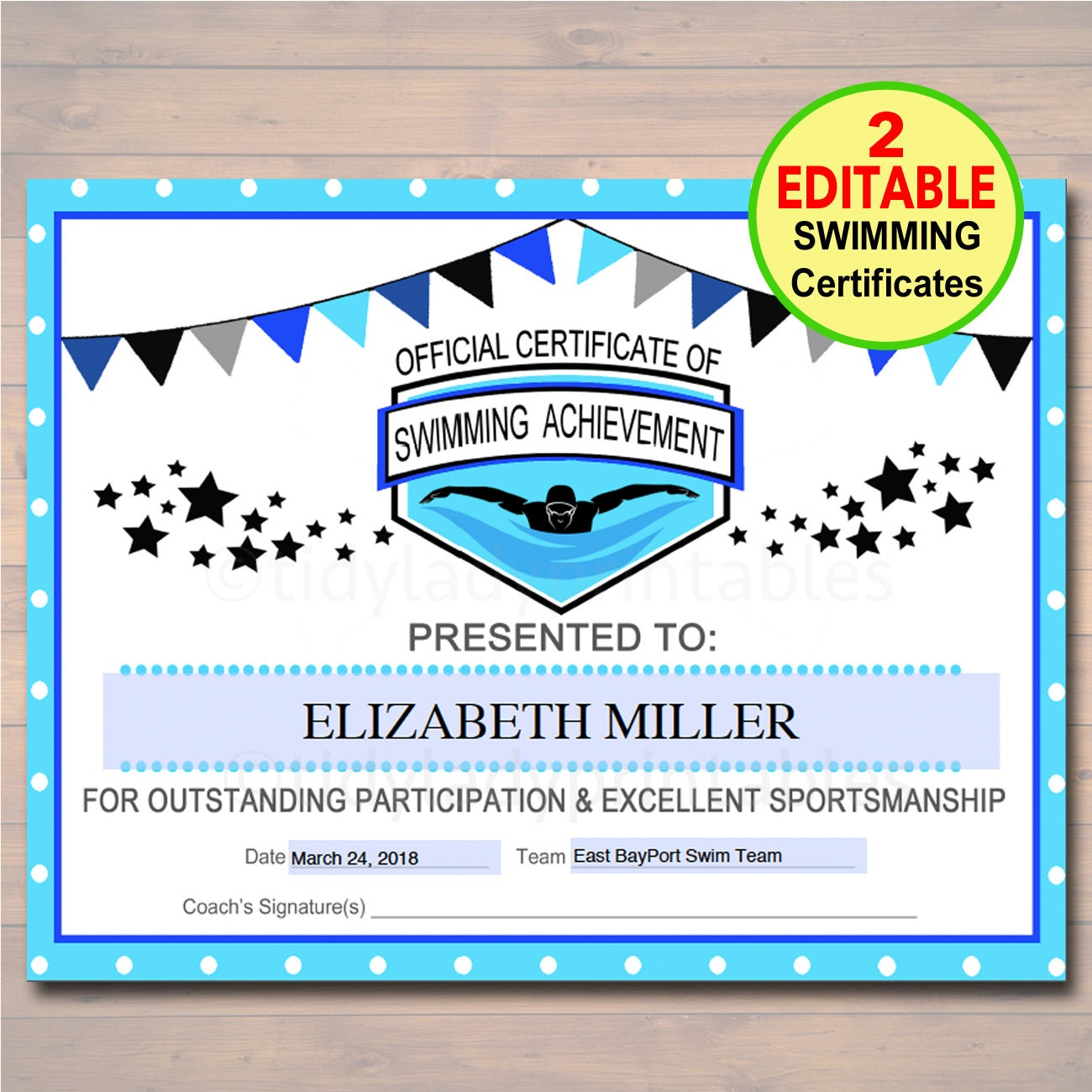 Editable swim team award certificates instant download zoom xflitez Gallery