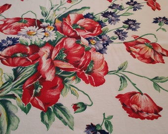 """Vintage Startex Tablecloth Cotton Poppy Cornflower Blue Bouquet EUC Stunning Colors Sewn in Label 53""""x47"""" Free Ship in US"""