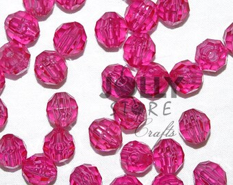 8mm Round Faceted Beads - Hot Pink Translucent - 500 piece bag