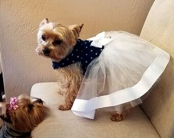 Dog Tutu Dress, Denim and Tulle
