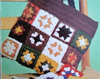 Crochettes Vintage Crochet Pattern 1970s Granny Squares Blankets Cushion Cover Pillow Cover Cot Cover Crochet Purse Bag 70s original pattern