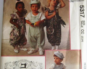 Toddlers Pull-on Jumpsuits and Hat Sizes 2 3 4 Vintage 1990s Gooseberry Hill McCalls Pattern 5317 UNCUT