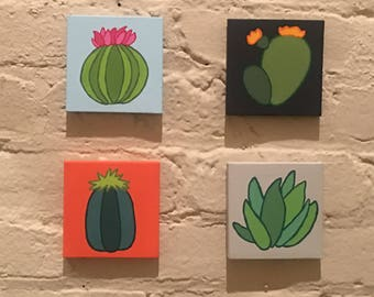 Cactus & Succulent Paintings - Set of 4 Hand Painted Canvases