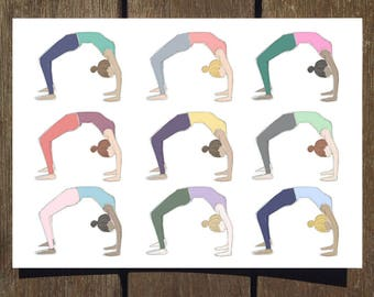 Wheel Pose / Backbend Repeat - Blank Yoga Pose Greeting Card // Yoga Card // Blank Inside // Yoga Gifts